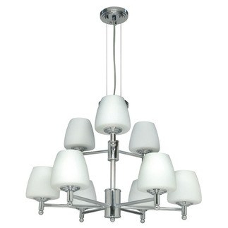(9 Light) Halogen Chandelier - Polished Chrome / Satin White Glass - Nuvo Lighting 60-1076