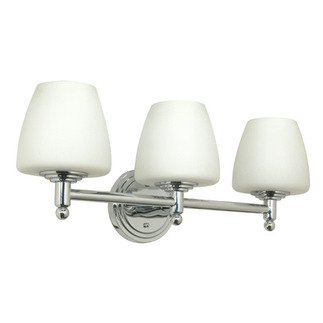 (3 Light) Halogen Vanity - Polished Chrome / Satin White Glass - Energy Star Qualified - Nuvo Lighting 60-1085 - residential fixture