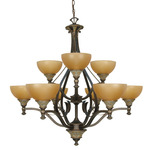 (9 Light) Chandelier - Dorado Bronze / Sepia Colored Glass Shades - Nuvo Lighting 60-1091
