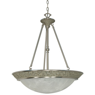 (4 Light) Pendant - Brushed Nickel / Alabaster Swirl Glass - Nuvo Lighting 60-1094