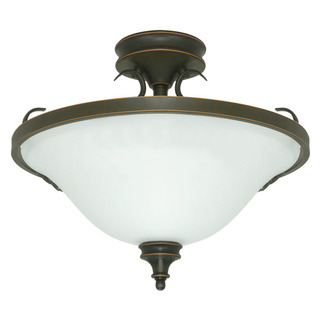 (3 Light) Semi-Flush Ceiling Fixture - Rustic Bronze / Satin Opal White Glass - Nuvo Lighting 60-1102 - Residential Light Fixture
