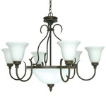 (9 Light) Chandelier - Rustic Bronze / Satin Opal White Glass - Nuvo Lighting 60-1103
