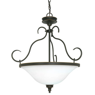 (3 Light) Pendant - Rustic Bronze / Satin Opal White Glass - Nuvo Lighting 60-1105