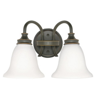 (2 Light) Vanity - Rustic Bronze / Satin Opal White Glass - Nuvo Lighting 60-1107