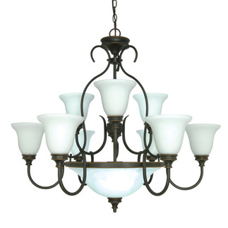 (12 Light) Chandelier - Rustic Bronze / Satin Opal White Glass - Nuvo Lighting 60-1111 - Residential Light Fixture