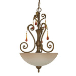 (3 Light) Pendant - Dune Gold / Amber Veil Glass - Nuvo Lighting 60-1141