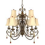 (9 Light) Chandelier - Dune Gold / Fabric Shades - Nuvo Lighting 60-1142