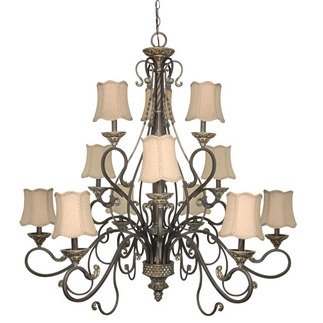 (12 Light) Chandelier - Gold Coast / Fabric Shades - Nuvo Lighting 60-1147