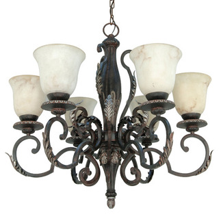 (6 Light) Chandelier - Garnet Gold / Marbleized Glass - Nuvo Lighting 60-1155