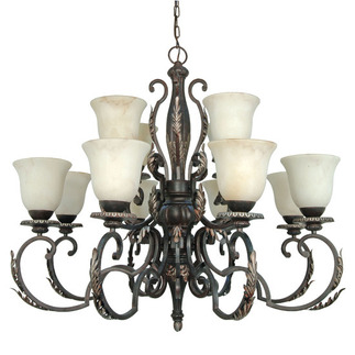 (12 Light) Chandelier - Garnet Gold / Marbleized Glass - Nuvo Lighting 60-1156