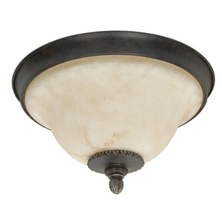 (3 Light) Flush Mount Ceiling Fixture - Garnet Bronze / Marbleized Glass - Nuvo Lighting 60-1159