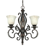 (3 Light) Chandelier - Garnet Gold / Marbleized Glass - Nuvo Lighting 60-1165