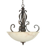 (3 Light) Pendant - Garnet Bronze / Marbleized Glass - Nuvo Lighting 60-1166