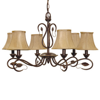 (6 Light) Chandelier - Sonoma Bronze / Fabric Shades - Nuvo Lighting 60-1168 - Residential Light Fixture
