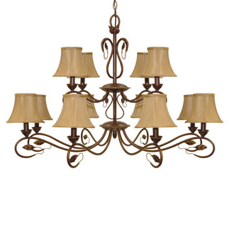 (12 Light) Chandelier - Sonoma Bronze / Fabric Shades - Nuvo Lighting 60-1171