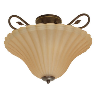 (3 Light) Semi-Flush Ceiling Fixture - Sonoma Bronze / Champagne Linen Washed Glass - Nuvo Lighting 60-1173