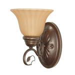 (1 Light) Vanity - Sonoma Bronze / Champagne Linen Washed Glass - Nuvo Lighting 60-1175 - Residential Light Fixture