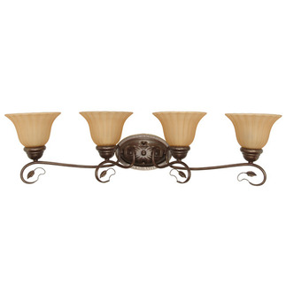 (4 Light) Vanity - Sonoma Bronze / Champagne Linen Washed Glass - Nuvo Lighting 60-1178