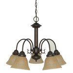 (5 Light) Chandelier - Mohogany Bronze / Champagne Linen Washed Glass - Nuvo Lighting 60-1251 - Residential Light Fixture