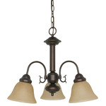 (3 Light) Chandelier - Mohogany Bronze / Champagne Linen Washed Glass - Nuvo Lighting 60-1252 - Residential Light Fixture