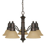 (5 Light) Chandelier - Mohogany Bronze / Champagne Linen Washed Glass - Nuvo Lighting 60-1253