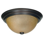 (2 Light) Flush Mount Ceiling Fixture - Mohogany Bronze / Champagne Linen Washed Glass - Nuvo Lighting 60-1256