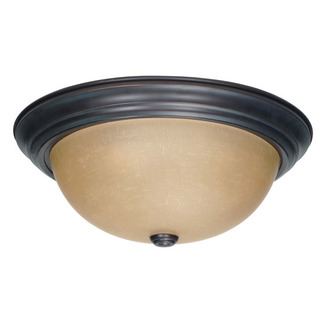 (3 Light) Flush Mount Ceiling Fixture - Mohogany Bronze / Champagne Linen Washed Glass - Nuvo Lighting 60-1257