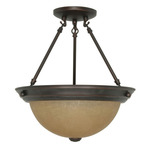 (2 Light) Semi-Flush Ceiling Fixture - Mohogany Bronze / Champagne Linen Washed Glass - Nuvo Lighting 60-1259