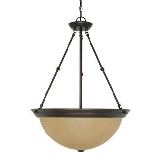 (3 Light) Pendant - Mahogany Bronze / Champagne Linen Washed Glass - Nuvo Lighting 60-1263
