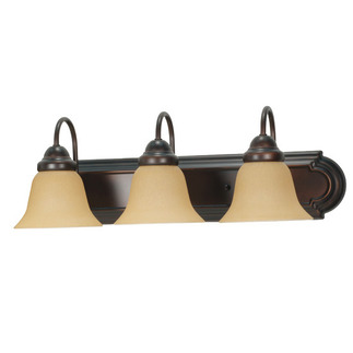 (3 Light) Vanity - Mahogany Bronze / Champagne Linen Washed Glass - Nuvo Lighting 60-1265