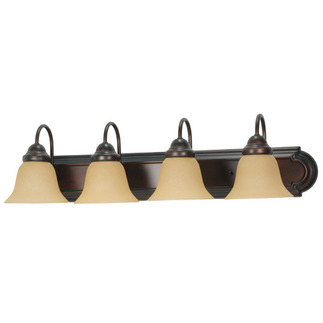 (4 Light) Vanity - Mahogany Bronze / Champagne Linen Washed Glass - Nuvo Lighting 60-1266 - Residential Light Fixture