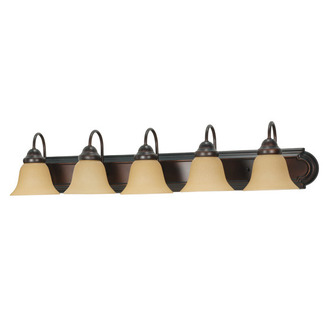 (5 Light) Vanity - Mahogany Bronze / Champagne Linen Washed Glass - Nuvo Lighting 60-1267 - Residential Light Fixture