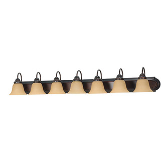 (7 Light) Vanity - Mahogany Bronze / Champagne Linen Washed Glass - Nuvo Lighting 60-1268 - Residential Light Fixture
