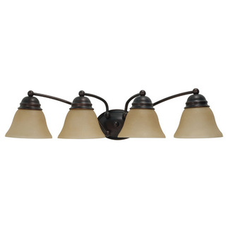(4 Light) Vanity - Mahogany Bronze / Champagne Linen Washed Glass - Nuvo Lighting 60-1273