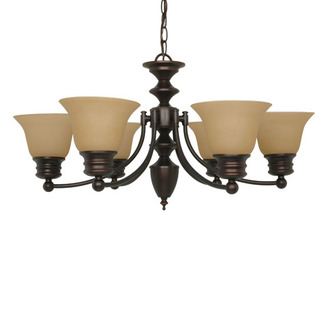 (6 Light) Chandelier - Mohogany Bronze / Champagne Linen Washed Glass - Nuvo Lighting 60-1274