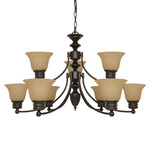 (9 Light) Chandelier - Mohogany Bronze / Champagne Linen Washed Glass - Nuvo Lighting 60-1275