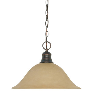 (1 Light) Pendant - Mahogany Bronze / Champagne Linen Washed Glass - Nuvo Lighting 60-1276