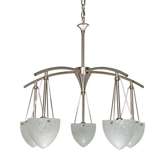 (5 Light) Chandelier - Brushed Nickel / Water Spot Glass - Nuvo Lighting 60-130