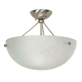 (3 Light) Semi-Flush Ceiling Fixture - Brushed Nickel / Water Spot Glass - Nuvo Lighting 60-132 - Residential Light Fixture