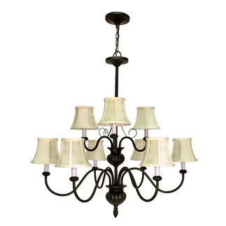 (9 Light) Chandelier (2 Tier) - Textured Black / Ecru Diamond Shades - Nuvo Lighting 60-139