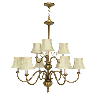 (9 Light) Chandelier (2 Tier) - Flemish Gold / Ecru Diamond Shades - Nuvo Lighting 60-140