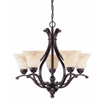 (5 Light) Chandelier - Copper Espresso / Honey Marble Glass - Nuvo Lighting 60-1402