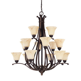 (15 Light) (3 Tier) Chandelier - Copper Espresso / Honey Marble Glass - Nuvo Lighting 60-1404