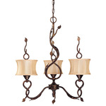 (3 Light) Chandelier - Autumn / Beige Shantung Shades - Nuvo Lighting 60-1421