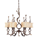 (6 Light) Chandelier - Autumn / Beige Shantung Shades - Nuvo Lighting 60-1422
