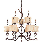 (9 Light) (2 Tier) Chandelier - Autumn Gold /Beige Shantung Shades - Nuvo Lighting 60-1423
