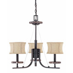(3 Light) Chandelier - Ledgestone / Fabric Shades - Nuvo Lighting 60-1441