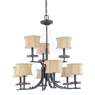 (9 Light) (2 Tier) Chandelier - Ledgestone / Fabric Shades - Nuvo Lighting 60-1443