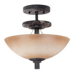(3 Light) Semi-Flush Mount Ceiling Fixture - Ledgestone / Toffee Crunch Glass - Nuvo Lighting 60-1445