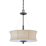 (3 Light) Pendant - Ledgestone / Fabric - Nuvo Lighting 60-1446